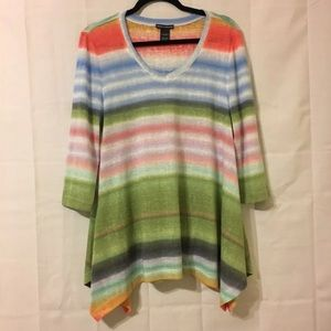Chelsea & Theodore Rainbow Blouse Size Large
